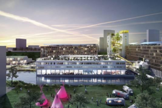 Het Ontwerp van OMA voor het terrein van de Bijlmer Bajes.
