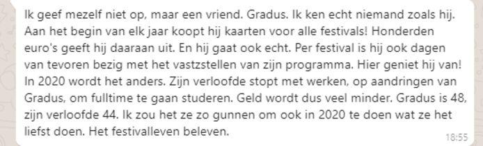 De tekst van de winnende motivatie om Gradus het Gouden Ticket te geven.