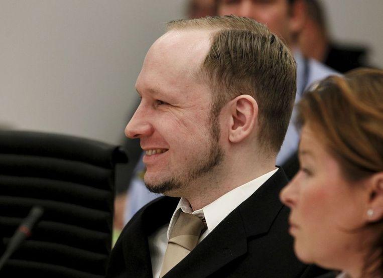 Breivik vandaag in de rechtbank in Oslo. Beeld afp