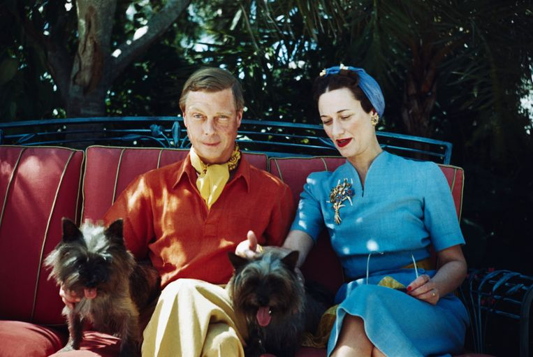 The Duke and Duchess of Windsor seated outdoors with two small dogs. Beeld Bettmann Archive