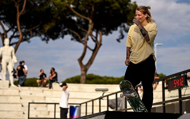 Candy Jacobs op de WK in Rome. Beeld EPA