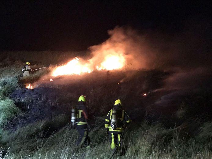 Brandweerlieden blussen een van de brandjes die zaterdagnacht ontstonden.