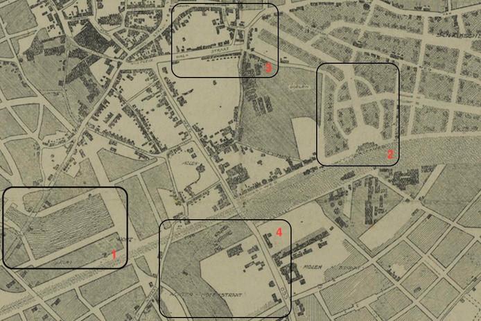 Een deel van het uitbreidingsplan uit 1919: 1. een haven op de Lievekamp, 2. imposante entree bij een nieuw te bouwen station (met Booglaan), 3. een nieuwe toegang tot het centrum en 4. nieuwe woonwijk op De Kortfoort.