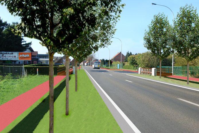 Het vrijliggende fietspad komt aan beide zijden van de Steenweg op Leopoldsburg, goed voor in totaal 20 km fietsplezier.
