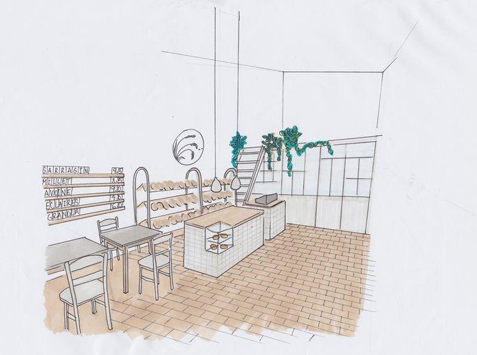 Croquis de l'atelier et du magasin réalisé par Perrine Hennen, l'architecte d'intérieur chargée de l'aménagement de la boulangerie, et qui n'est autre que la sœur de Pierre.