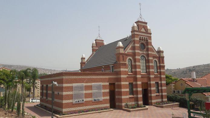 De synagoge die ooit in Terborg stond, maar nu een plek heeft gekregen in Mevo Horon.