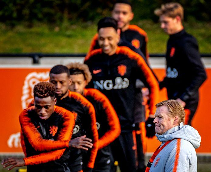 Training Nederlands elftal voor interlands tegen Wit-Rusland en Duitsland.