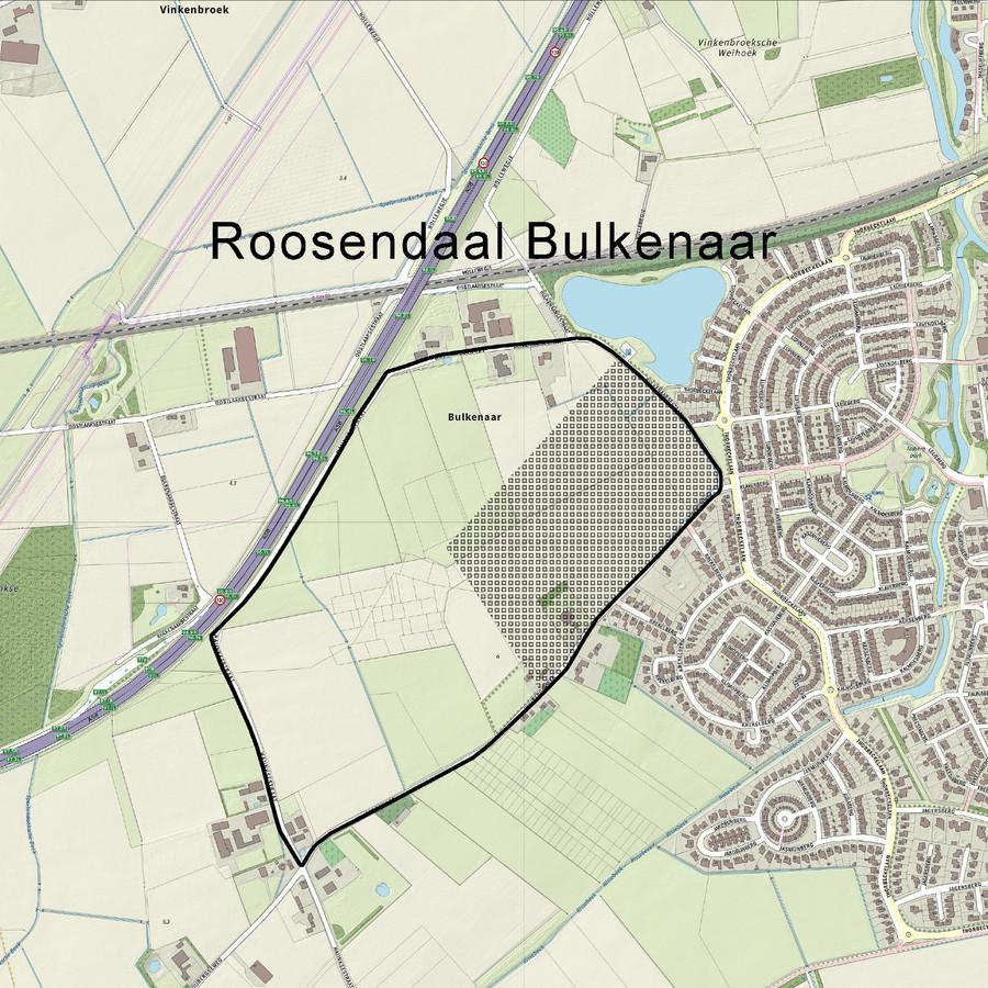 De locatie Bulkenaar, waar het nieuwe Bravis ziekenhuis gebouwd gaat worden, ligt ter hoogte van woonwijk Tolberg in Roosendaal.