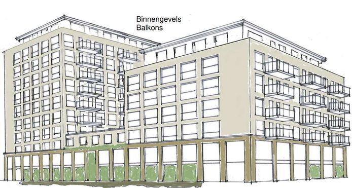 Uit een eerste schets kwam dit ontwerp voor het appartementengebouw aan de Veerweg-Vondellaan in Papendrecht naar voren.