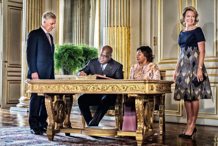 President Félix Tshisekedi op bezoek in het paleis. Beeld Tim Dirven