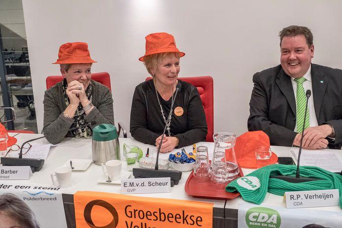 Enkele lijsttrekkers tijdens het debat van de Gelderlander in de gemeente Berg en Dal.