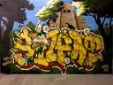 Eindresultaat van Steven Hopmans werk bij de Graffiti Jam van 2016