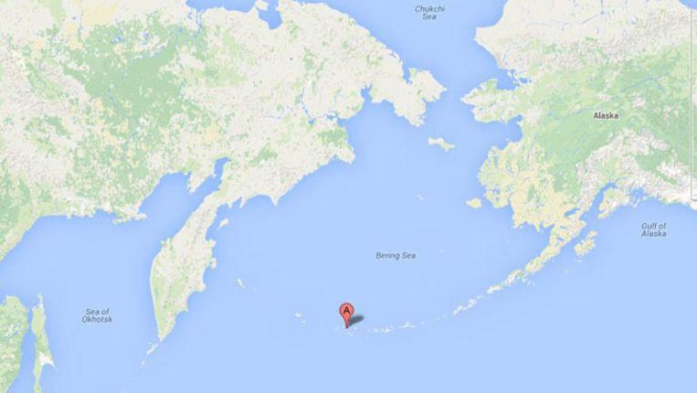 Het eiland Little Sitkin in de Stille Oceaan waarbij de aardbeving plaats vond Beeld Google Maps
