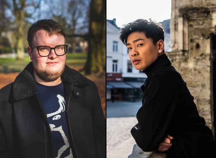 """Maxime (links) werd in 2000 het slachtoffer van zwaar homofoob geweld. Hij wil met z'n verhaal anderen inspireren te praten. """"Er is een groot probleem in België."""" Leonard Santos (rechts) gaat als een privédetective te werk voor hij met iemand afspreekt. """"Hoe erg is het dat wij zo voorzichtig moeten zijn?"""""""