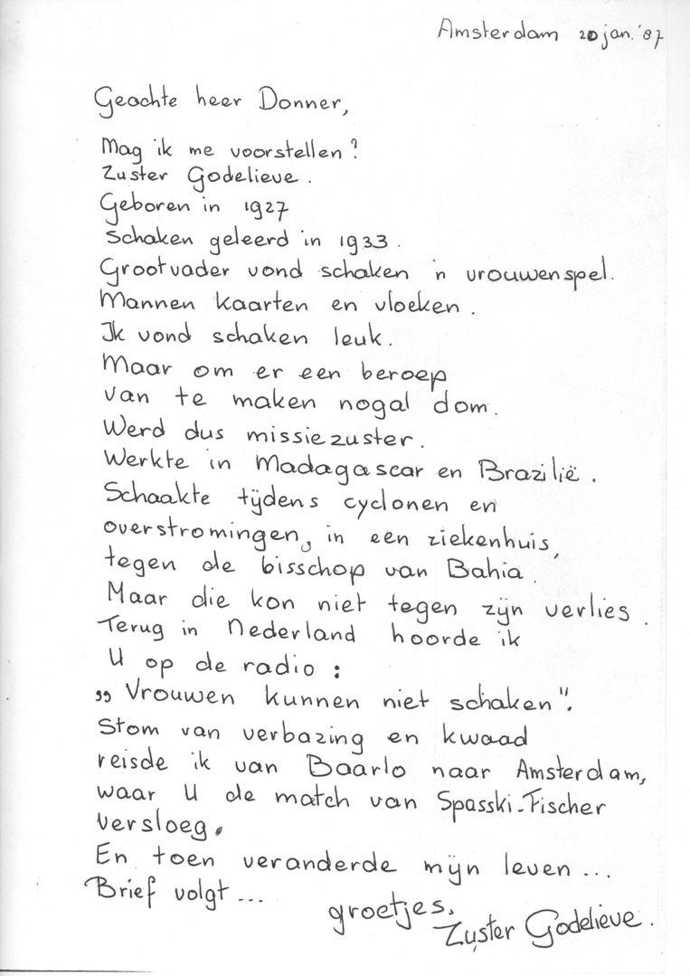 Brief van Eveline Eijkmans aan Hein Donner. Beeld