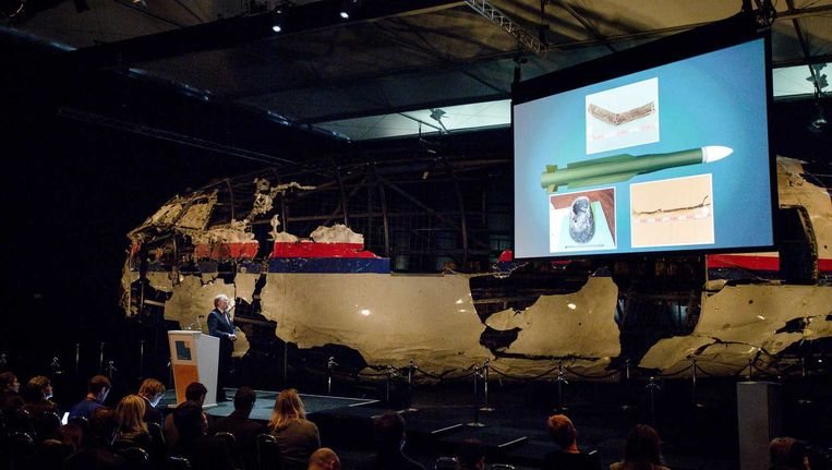 Beeld van een toelichting op het rapport van de Onderzoeksraad voor Veiligheid (OVV) met de resultaten van het onderzoek naar de oorzaak van de ramp met vlucht MH17. Beeld anp