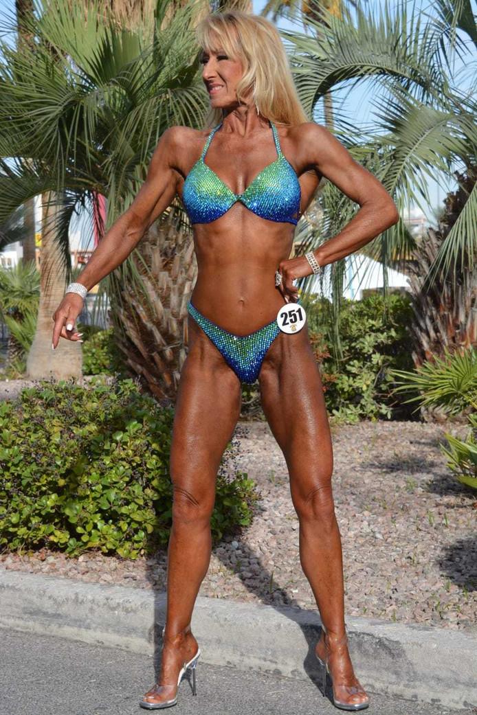 Powergran Willie Heuser (62) uit Dordrecht tijdens het pre-contest in Las Vegas.