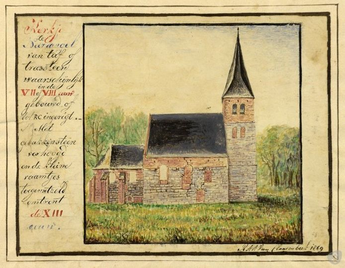 Kerkje van Sint Jan de Doper in Neerlangel. Prent uit 1869. De kerk wordt nog maar een keer per jaar gebruikt.
