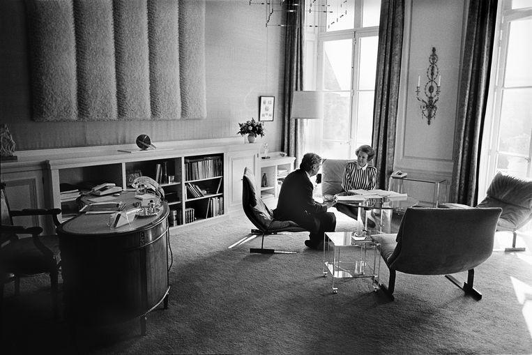 September 1992. Wekelijks gesprek Koningin Beatrix met de minister-president Ruud Lubbers.  Beeld Werry Crone