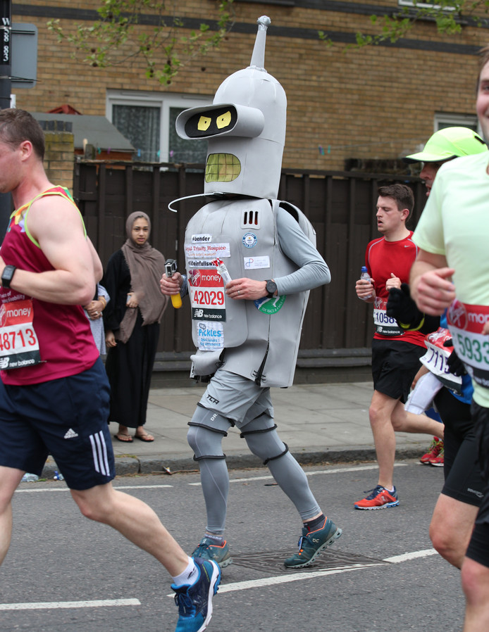 Runners in fancy dress during the 2019 Virgin Money London Marathon.