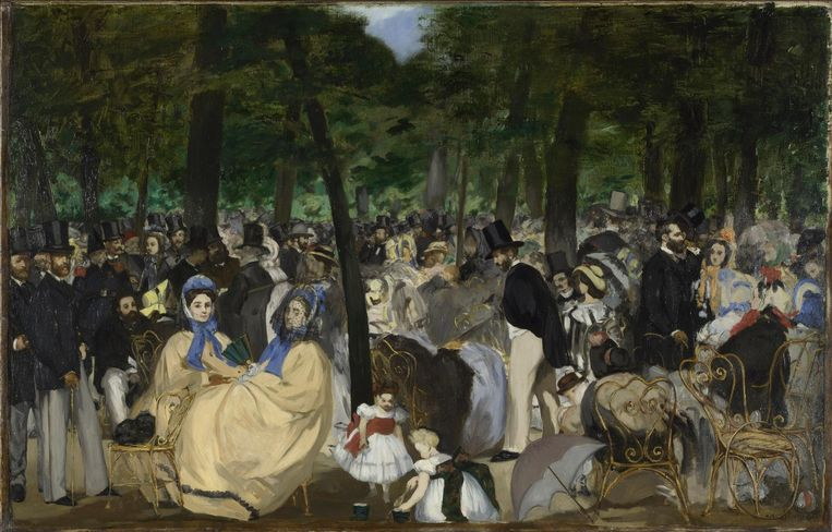 Edouard Manet, la musique aux Tuileries, 1861-62. Beeld National Gallery Londen / Scala Florence