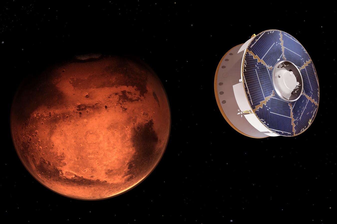 Een beeld van de Perseverance op weg naar Mars.