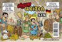 Etiket voor Weizen van brouwerij D'n Drul, gemaakt door Rob Derks
