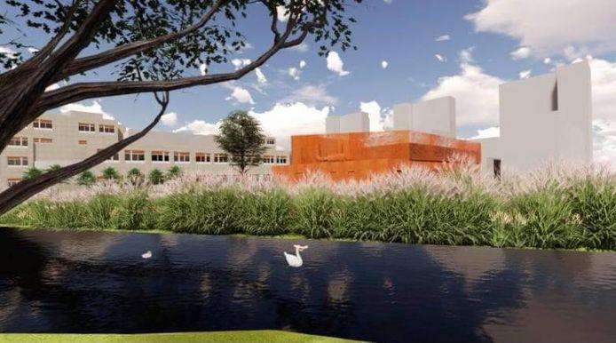 Een impressie van het nieuwe Noodstroom Aggregaat-gebouw (NSA) van het Albert Schweitzer ziekenhuis in Dordrecht.