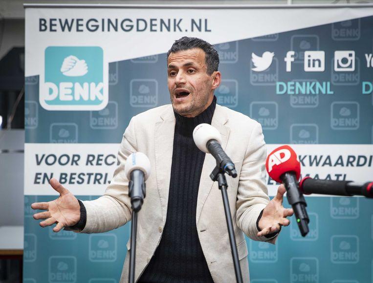Farid Azarkan geeft een verklaring rondom de perikelen bij DENK.  Beeld ANP