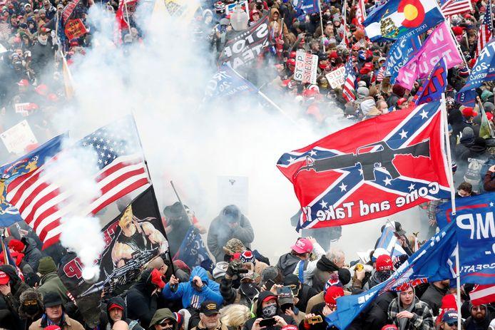 Trump-aanhangers tijdens de bestorming van het Capitool op 6 januari.