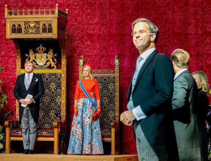 Premier Rutte tijdens de troonrede van de koning in de Grote Kerk in Den Haag.