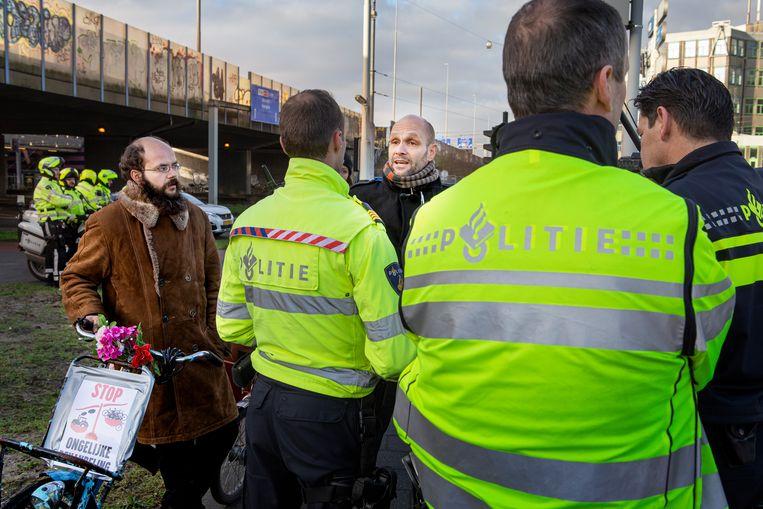 Organisator van het protest Frank van der Linde. Beeld Pauline Marie Niks