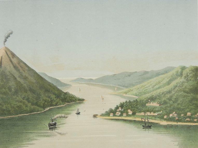 Het eiland Banda Neira, op een schilderij van Josias Cornelis Rappard (1824-1898). Beeld HH / Koninklijk Instituut voor de Tropen