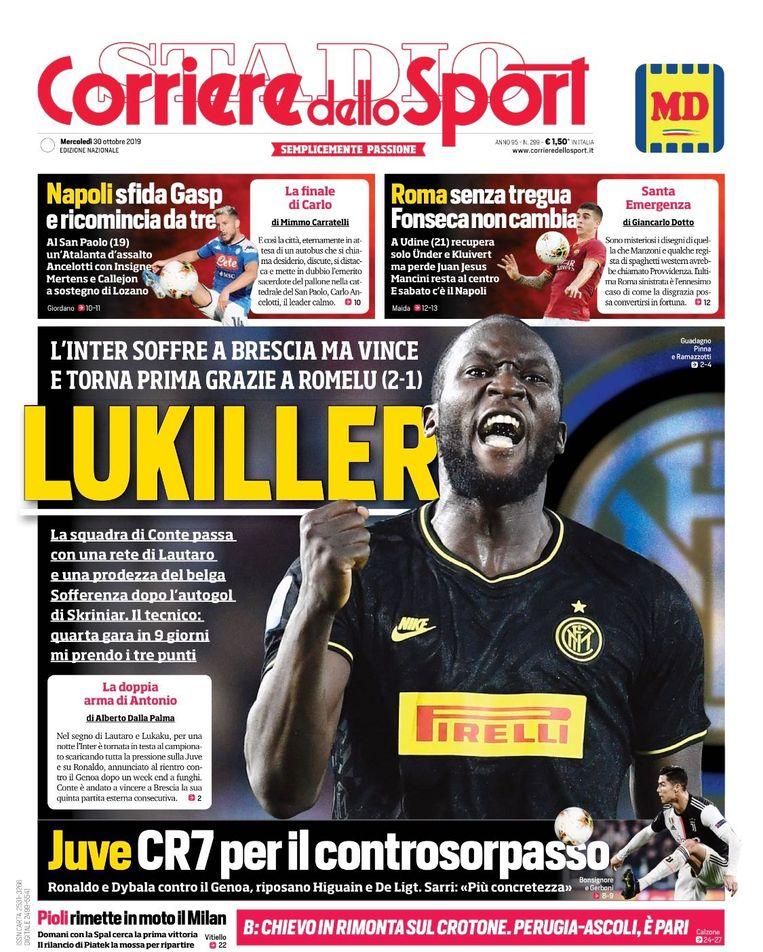 'Lukiller', staat er op de cover van de Corriere dello Sport.