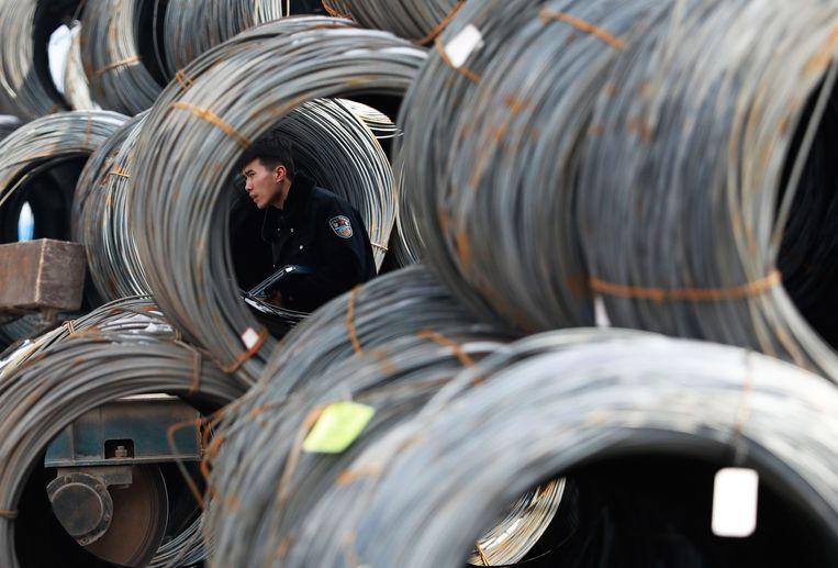 Een markt voor staalproducten in Shenyang, China.  Beeld AFP