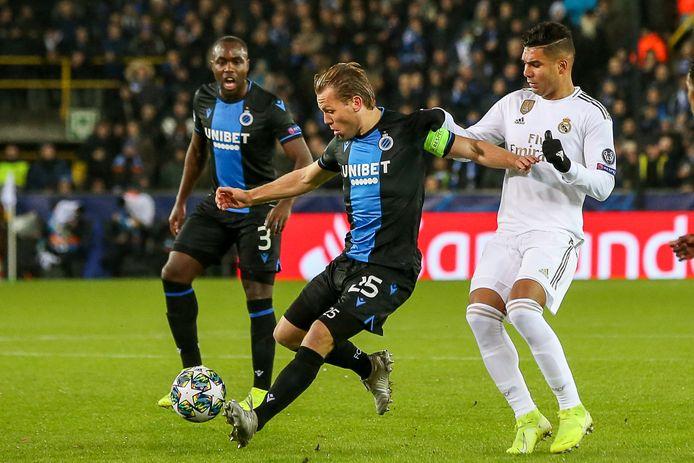 Ruud Vormer met Club Brugge in actie tegen Real Madrid. Nederland moet hopen dat de Belgische kampioen niet al te veel punten pakt.