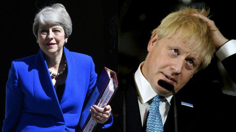 Theresa May (links) en Boris Johnson (rechts)