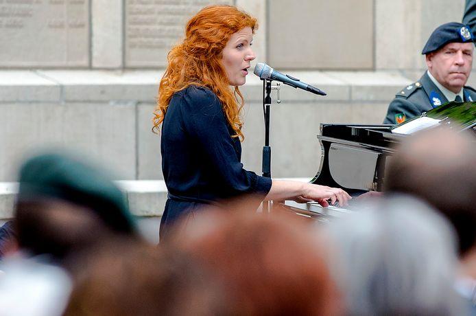 Renee van Bavel in 2014 tijdens de herdenking van de ontruiming van Kamp Vught.   ANP Sander Koning