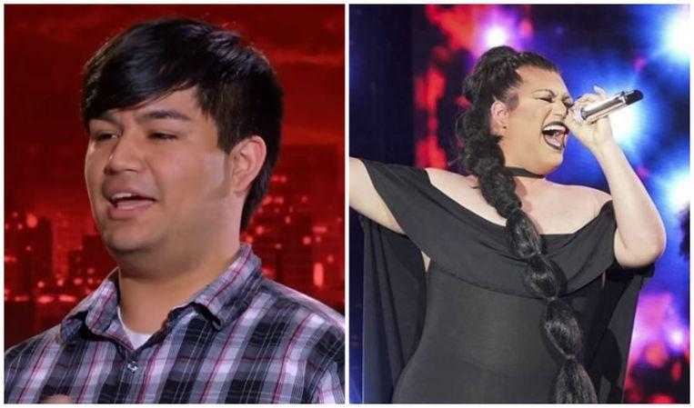 Adam bij zijn deelname aan American Idol in 2013 (links) en nu als Ada Vox (rechts).