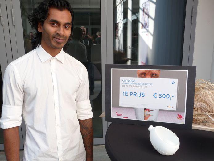 Tom van Rooij won dit jaar de ontwerpwedstrijd Tafel der Lusten bij Cor Unum in Den Bosch.