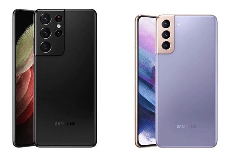 De Galaxy S21 Ultra (links) en S21+. Beeld Samsung