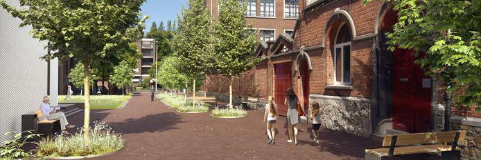 Een simulatie van de toekomstige Boonhemstraat met veel groen en plaats voor wandelaars.