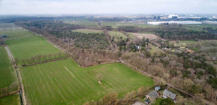 Op dit gehele groene stuk grasland  in Zijtaart, van voor tot achter aan de A50, is een zonnepanelenpark gepland. Op de achtergrond de bedrijven van Foodpark. Dat bedrijventerrein wordt nog uitgebreid richting het bos. Ertussen wonen de mensen die nu een actiegroep zijn gestart.