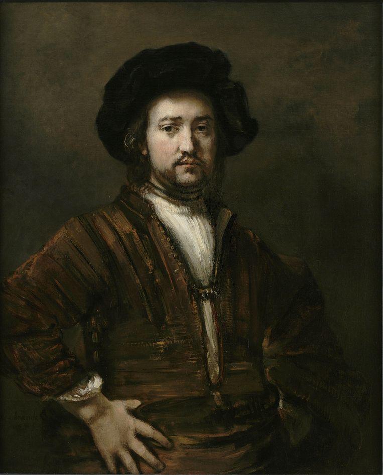Portret van een man met de handen in de zij van Rembrandt van Rijn. Beeld null