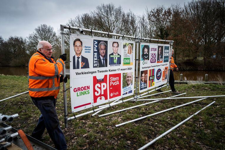 Een aannemersbedrijf plaatst verkiezingsborden in opdracht van de gemeente Midden-Groningen. Beeld Kees van de Veen