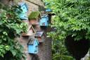Een keur aan vogelhuisjes voor de jonge merels, roodborstjes en heggemussen, die een graag geziene gast zijn in de tuin.