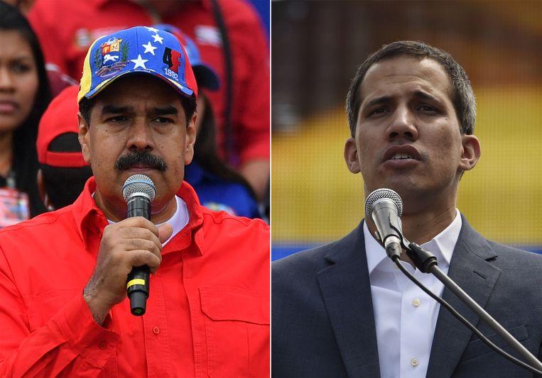 Nicolas Maduro (l.) en Juan Guaido (r.). Beeld AFP