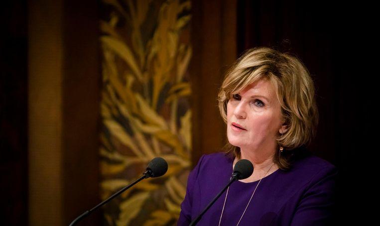 Pia Dijkstra (D66) spreekt tijdens het debat in de Eerste Kamer over het initiatiefvoorstel om een actief donorregistratiesysteem in te voeren. Beeld anp