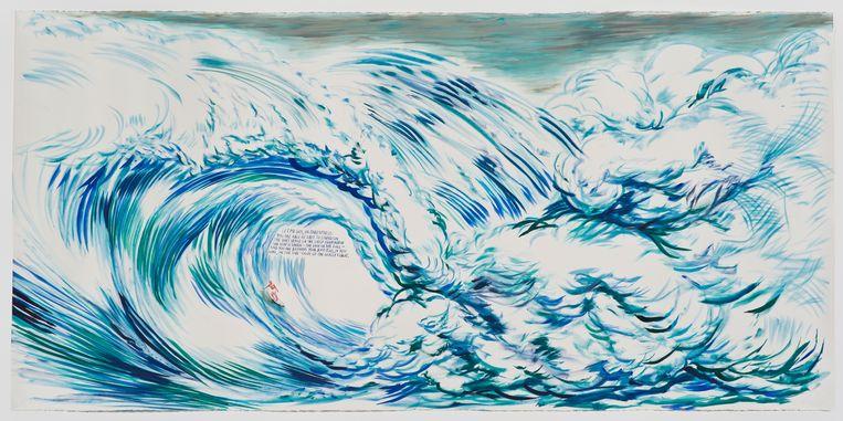 ► Een eenzame surfer te midden van enorme golven. In het latere werk van Raymond Pettibon, die in LA opgroeide aan de kust, zie je vaak surftaferelen. Beeld RV Raymond Pettibon