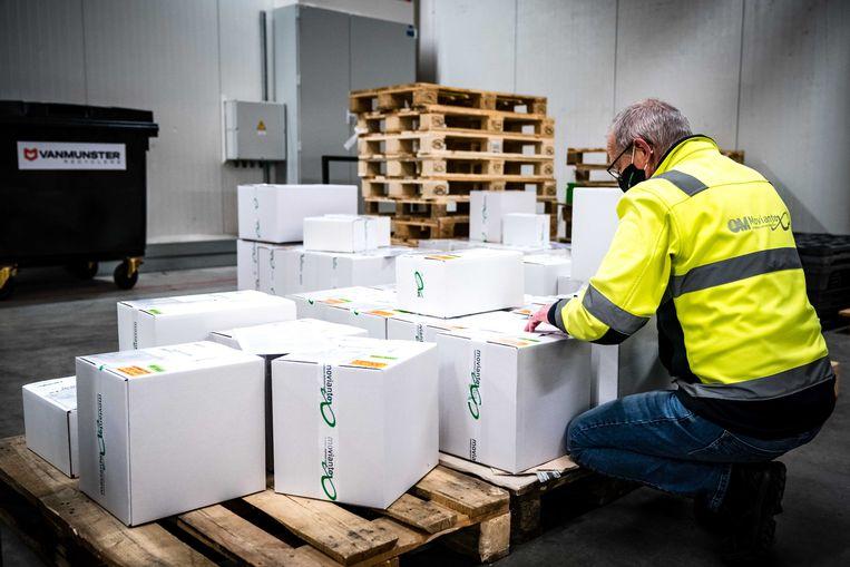 Het transport van coronavaccins die lagen opgeslagen bij Movianto. Het Brabantse bedrijf draagt in Nederland de logistieke verantwoordelijkheid voor de opslag en het transport van diverse coronavaccins en bijbehorende medische hulpmiddelen. Beeld ANP